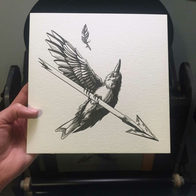 Letterpress print of bird